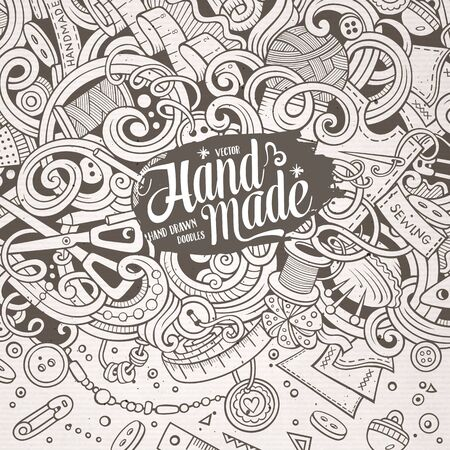 vector background: Cartoon cute doodles hand drawn hand made frame design. Line art detailed, with lots of objects background. Funny vector illustration. Sketchy border with handmade theme items