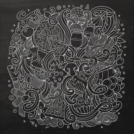 restaurante italiano: garabatos lindo de dibujos animados dibujados a mano ejemplo de la comida italiana. dibujos detallados, con una gran cantidad de objetos de fondo. obra divertida del vector. Pizarra con Italia artículos de cocina temáticos.