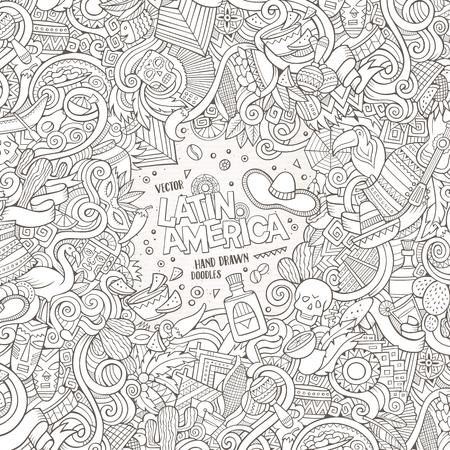guitarra: garabatos lindo dibujo animado dibujado a mano diseño del marco latinoamericano. dibujos detallados, con una gran cantidad de objetos de fondo. Ilustración divertida del vector. frontera incompleto con artículos del tema de América Latina