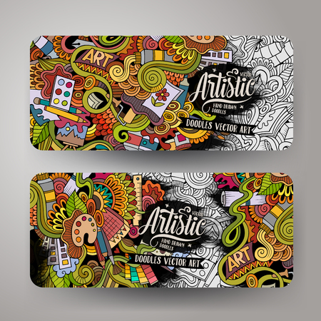 Cartoon colorful vector hand drawn doodles art corporate identity. 2 Horizontal banners design. Templates set
