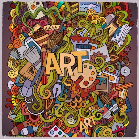 만화 귀여운 낙서 손으로 그려진 된 그림입니다. 밝은 색상 예술적 테마 항목과 그림. 낙서 비문 아트. 다채로운, 많은 개체 배경으로 상세한. 재미 있
