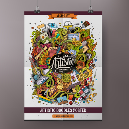 poster: Cartoon colorful hand drawn doodles Art poster template. Very detailed, with lots of objects illustration. Funny vector artwork. Corporate identity design.