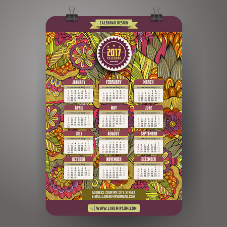 floral objects: Cartoon colorful hand drawn doodles floral 2017 year calendar template. English, Sunday start. Very detailed, with lots of objects illustration. Funny vector artwork. Illustration