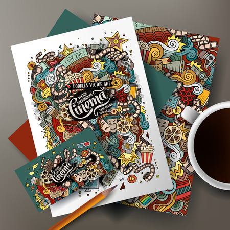 movie poster: Cartoon cute colorful vector hand drawn doodles cinema movie corporate identity set. Templates design of business card, flyers, posters, papers on the table