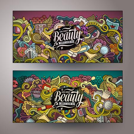 Cartone animato vettore colorato a mano scarabocchi disegnati cosmetico identità aziendale. 2 orizzontale disegno di bellezza striscioni. Modelli impostati Archivio Fotografico - 59787787