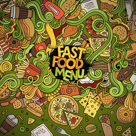 fastfood: Cartoon cute doodles hand drawn fast food frame design. Colorful detailed, with lots of objects background. Funny vector illustration. Bright colors border with fastfood theme items