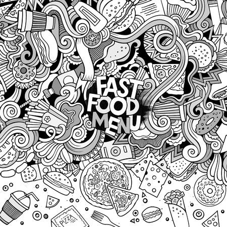 fastfood: Cartoon nguệch ngoạc dễ thương vẽ tay thiết kế khung thức ăn nhanh. dòng nghệ thuật chi tiết, với nhiều nền đối tượng. Vui vector minh họa. biên giới sơ sài với các hạng mục chủ đề fastfood Hình minh hoạ
