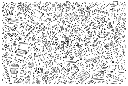 디자인 테마 항목, 개체 및 기호 라인 아트 벡터 손으로 그린 낙서 만화 세트 일러스트