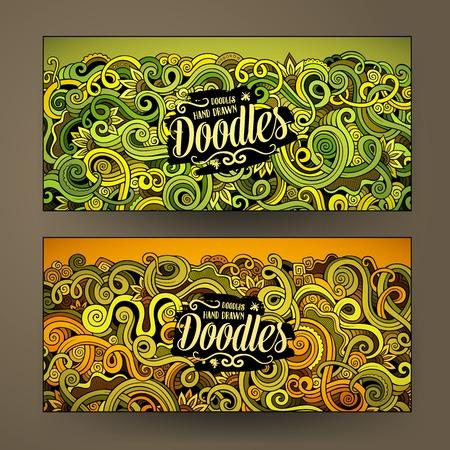 De dibujos animados lindo mano colorido vector de los Doodles rizos, remolinos identidad corporativa. 4 diseño de banners horizontales. Establecimiento de plantillas Foto de archivo - 59787854