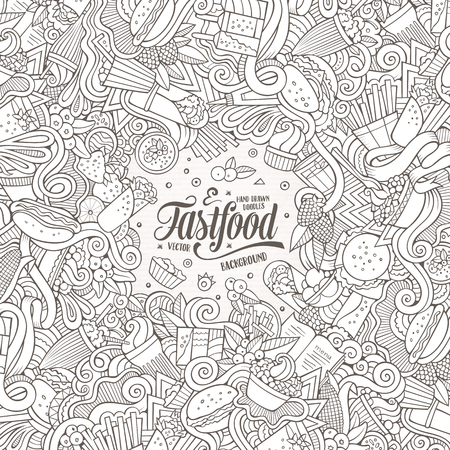 fastfood: Cartoon cute doodles hand drawn food frame design. Line art detailed, with lots of objects background. Funny vector illustration. Sketchy border with fastfood theme items