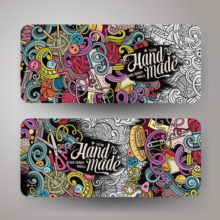 Cartoon colorful vector hand drawn doodles handmade corporate identity. 2 Horizontal banners design. Templates set