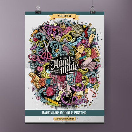 poster art: Cartoon colorful hand drawn doodles Handmade poster template. Very detailed, with lots of objects illustration. Funny vector artwork. Corporate identity design.