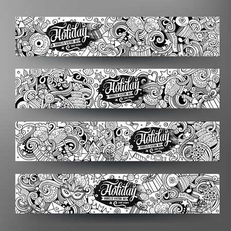 contours: Cartoon cute line art vector hand drawn doodles holidays corporate identity. 4 horizontal banners design. Templates set