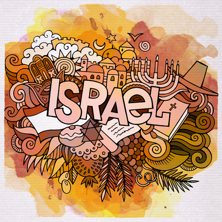 israelite: Cartoon vector hand drawn doodle Israel illustration. Watercolor detailed design background with objects and symbols