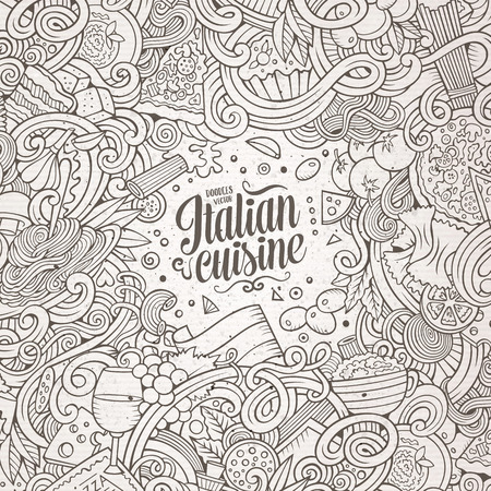 italian cuisine: Cartoon cute doodles hand drawn italian cuisine frame design. Line art detailed, with lots of objects background. Funny vector illustration. Sketchy border with Italia food theme items