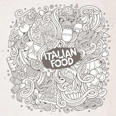 Cartoon cute doodles hand drawn italian food illustration. Line art detailed, with lots of objects background. Funny vector artwork. Sketchy with Italy cuisine theme items.