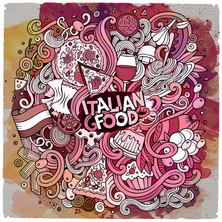 italy culture: Cartoon cute doodles hand drawn italian food illustration. Line art paint detailed, with lots of objects background. Funny vector artwork. Watercolor with Italy cuisine theme items.