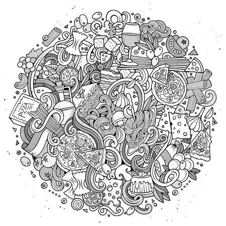 Garabatos lindo de dibujos animados dibujados a mano ejemplo de la comida italiana. dibujos detallados, con una gran cantidad de objetos de fondo. vector ilustraciones divertidas de todo el año. Incompleto con artículos Italy tema de la cocina. Foto de archivo - 59788256