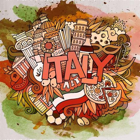 vecteur de dessin animé main doodle dessiné Italie illustration. Aquarelle conception détaillée de fond avec des objets et des symboles