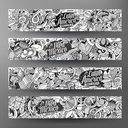 machu picchu: Cartoon cute line art vector hand drawn doodles Latin American corporate identity. 4 horizontal banners sketchy design set
