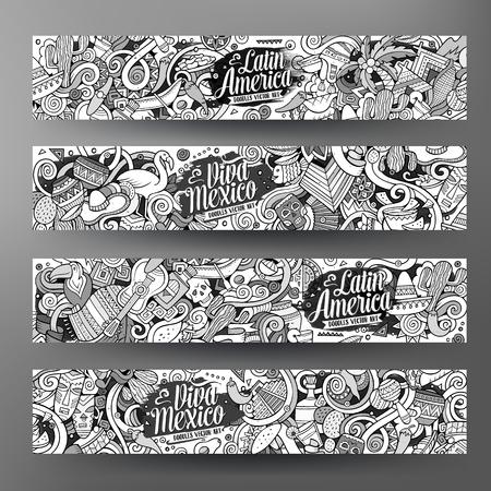 Cartoon cute line art vector hand drawn doodles Latin American corporate identity. 4 horizontal banners sketchy design set
