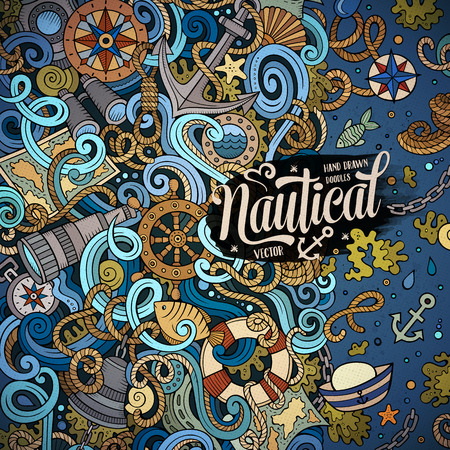 sail fin: Cartoon cute doodles hand drawn nautical frame design. Colorful detailed, with lots of objects background. Funny vector illustration. Bright colors border with maritime theme items Illustration