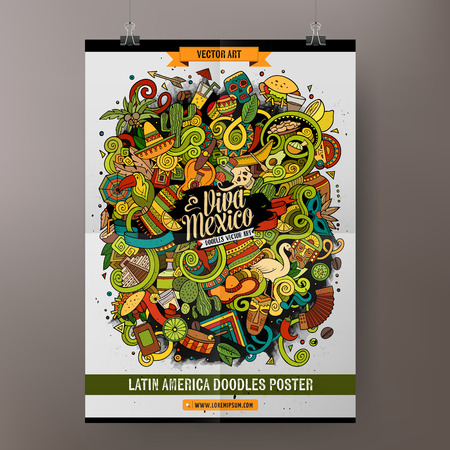 Cartoon colorful hand drawn doodles Latin America poster template. Very detailed, with lots of objects illustration. Funny vector artwork. Corporate identity design.