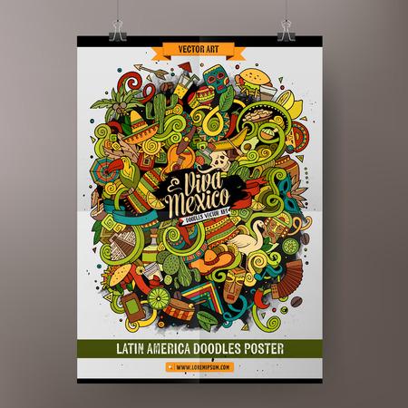 De dibujos animados de colores de mano garabatos dibujados plantilla cartel de América Latina. Muy detallado, con una gran cantidad de objetos de ilustración. obra divertida del vector. Diseño de identidad corporativa. Ilustración de vector
