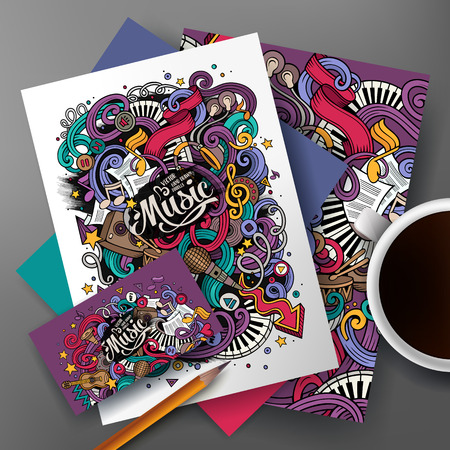 Cartoon cute colorful vector hand drawn doodles musical corporate identity set. Templates design of business card, flyers, posters, papers on the table. Vectores