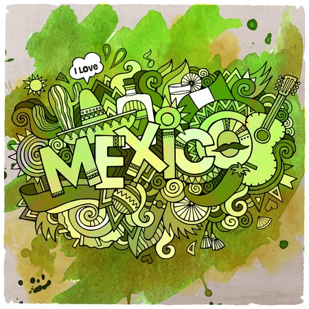 maracas: Cartoon vector hand drawn doodle Mexico illustration. Watercolor detailed design background with objects and symbols