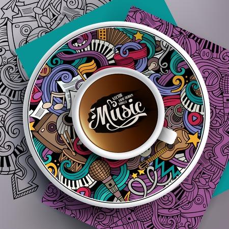 Ilustración del vector con una taza de café y de la mano dibuja garabatos musicales en un platillo, en el papel y en el fondo