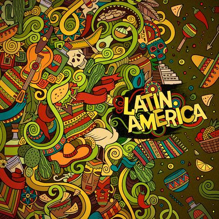 garabatos lindo dibujo animado dibujado a mano diseño del marco latinoamericano. Colorido detallado, con una gran cantidad de objetos de fondo. Ilustración divertida del vector. Brillante colores frontera con artículos del tema de América Latina Ilustración de vector