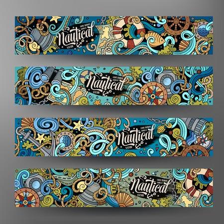 theme: Cartoon cute colorful vector hand drawn doodles nautical corporate identity. 4 horizontal banners design. Templates set Illustration