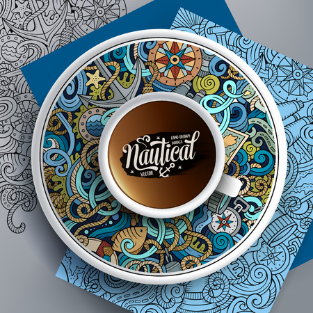 sail fin: Vector illustration with a Cup of coffee and hand drawn nautical doodles on a saucer, on paper and on the background Illustration