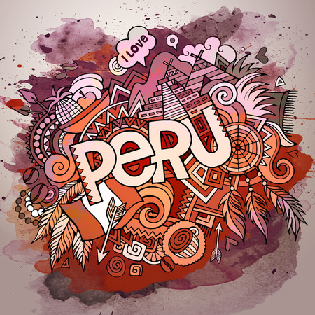 picchu: Cartoon vector hand drawn doodle Peru illustration. Watercolor detailed design background with objects and symbols