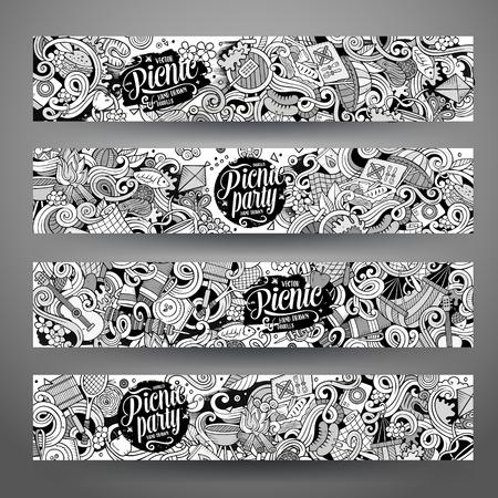 theme: Cartoon cute line art vector hand drawn doodles picnic corporate identity. 4 horizontal banners sketchy design set Illustration