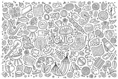 Line art vector hand drawn doodle cartoon set of picnic objects and symbols Иллюстрация