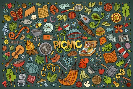 Colorful vector hand drawn doodle cartoon set of picnic objects and symbols 일러스트
