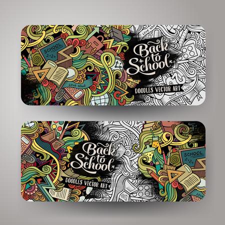 school computer: Cartoon cute colorful vector hand drawn doodles school corporate identity. 2 vertical line art banners design. Templates set