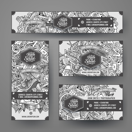 Cartoon cute line art vector hand drawn doodles school corporate identity set. Templates design of banners, id cards, flyer