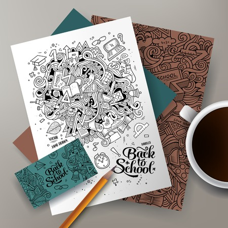 business card design: Cartoon cute line art vector hand drawn doodles Back to school corporate identity set. Templates design of business card, flyers, posters, papers on the table.