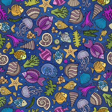 Cartoon hand-drawn sea life seamless pattern. Colorful detailed, with lots of objects funny vector background Illustration