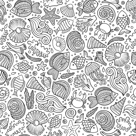 summer fun: Cartoon cute hand drawn sea life seamless pattern. Line art sketchy detailed, with lots of objects background. Endless funny vector illustration. Illustration