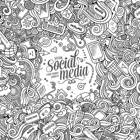 composition art: Cartoon cute doodles hand drawn internet illustration. Line art detailed, with lots of objects background. Funny vector artwork. Sketch picture with social media theme items. Square composition
