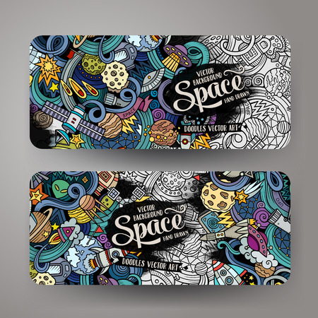 Cartoon cute colorful vector hand drawn doodles space corporate identity. 2 horizontal banners design. Templates set