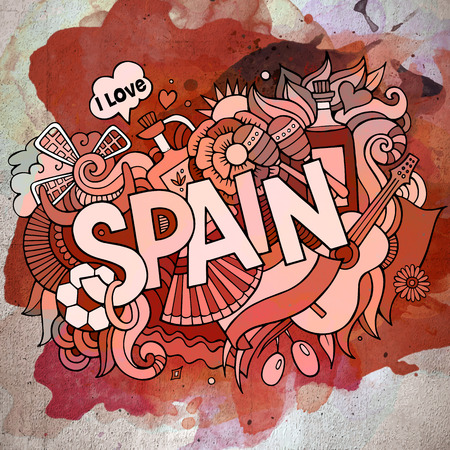 Cartoon vector hand drawn doodle Spain illustration. Watercolor detailed design background with objects and symbols Иллюстрация