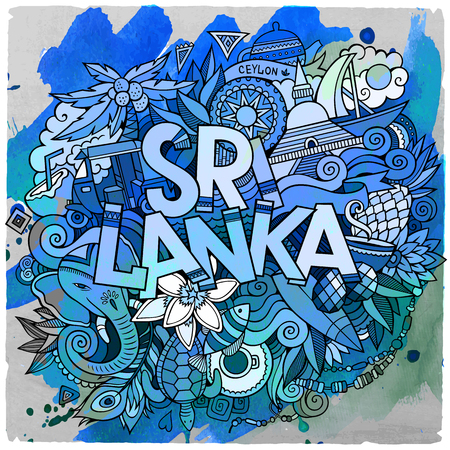 srilanka: Cartoon vector hand drawn doodle Sri Lanka illustration. Watercolor detailed design background with objects and symbols