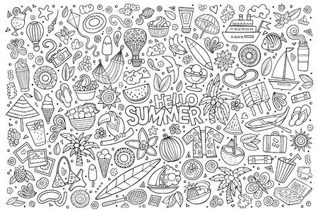 summer cartoon: Line art vector hand drawn doodle cartoon set of summer time season objects and symbols Illustration