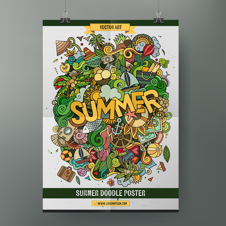 palm tree: Cartoon colorful hand drawn doodles Summer poster template. Very detailed, with lots of objects illustration. Funny vector artwork. Corporate identity design