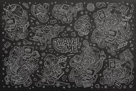 contours: Chalk board vector hand drawn doodle cartoon set of travel planning theme items, objects and symbols